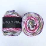 Lana Grossa Gomitolo Merino f016 offwhite med rosagrönt
