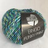Lana Grossa Bingo Funky Print f407 Mel. Turkosblågrönlila med svart
