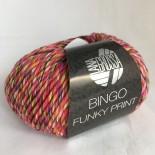 Lana Grossa Bingo Funky Print f405 Mel. Rosalilaorangegrön med svart