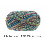 Lana Grossa Meilenweit 100 Christmas f6753 rödgröngulblå